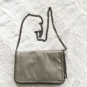 Chain Strap Leather  Fold Over Clutch Cross Body